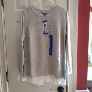 Hilary Radley Two-Fer Long Sleeve Sweater Gray New